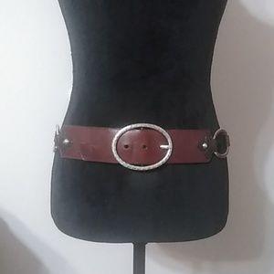 Brighton Brown leather belt w/ silver rings sz 34